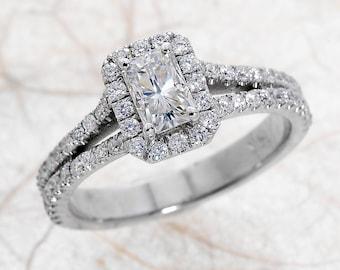 Moissanite Engagement Ring / Halo Engagement Ring / Radiant Cut Moissanite Engagement Ring / White Gold Engagement Ring