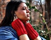 MOSS WARMERS in Red / Crochet Wool Fingerless Gloves / Gloves & Mittens / Arm Wamers