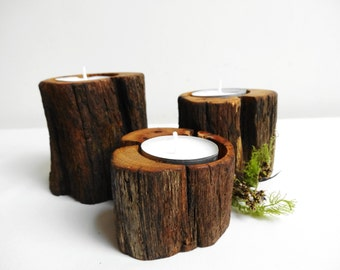 Candle Holders, Oak Wood Candle Holder, Tea Light Wood Candle Holder, Branch Candle Holders, Tree Candle Holders, Set of 3