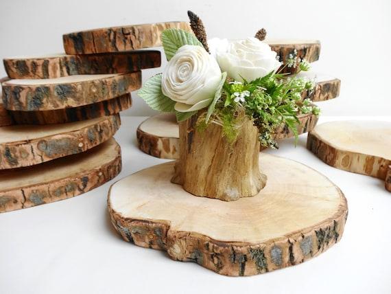 Wedding wood slices centerpieces