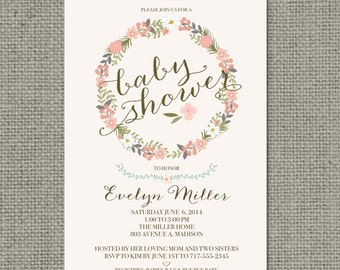 Printable Baby Shower Invitation Card |Flower Wreath and Calligraphy Design | Customize | DIY - No. BFR1-1