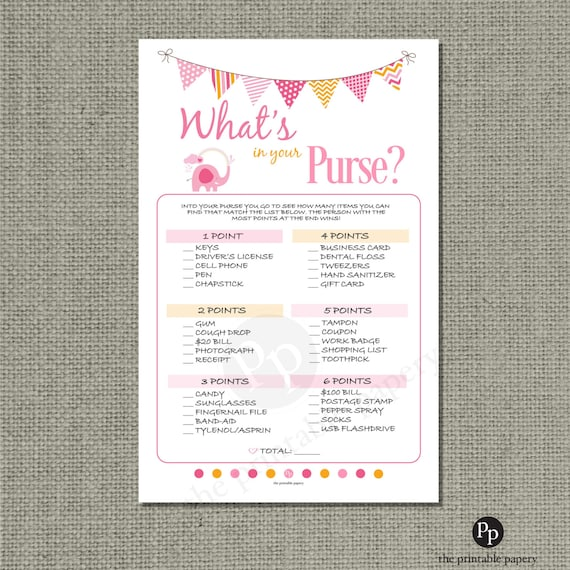 printable what 39 s in your purse baby shower game pink elepha