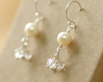 Bridal earrings pearl, crystal earrings, bridal earrings Swarovski, pearl drop earrings, cluster earrings - Florence