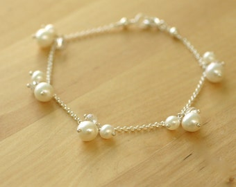 Freshwater pearl bracelet, pearl bridal bracelet pearl bracelet wedding, delicate bracelet - May