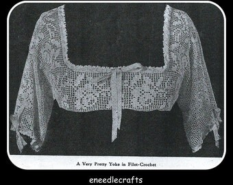 Vintage Filet Crochet Gown Yoke Pattern - With A Rose Design - Sleeves - On Instant Download