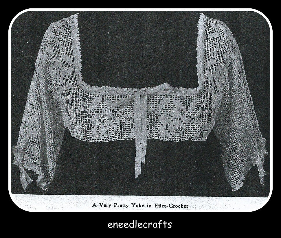 Free Vintage Crochet Yoke Patterns : Vintage Filet Crochet Gown Yoke Pattern With A Rose Design