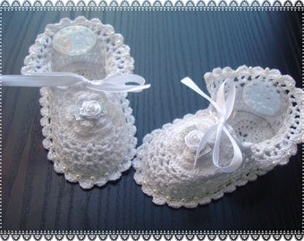 Crochet Christening Baby Booties .