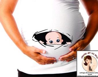 funny maternity shirt peek a boo cm166
