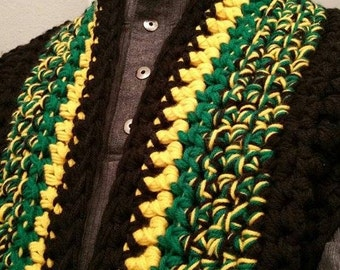 Blazing Hot Jamaican Colored Handmade Crocheted Infinity Scarf - It can come with a pocket and a hood - Wraps around the neck