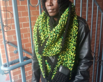 New Years Sale - The Most Hottest Blazing Jamaican Colored Handmade Crocheted Infinity Scarf with a Hood and Black Pocket - Order it now!!