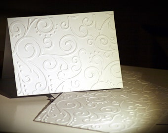 Embossed swirly note cards/envelopes (6)