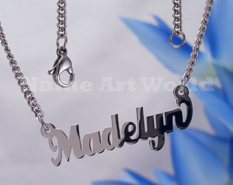Madelyn etsy madelyn name necklaces stainless steel next day ship never tarnishes shiny silver aloadofball Image collections
