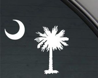 "PALMETTO Tree Moon SC South Carolina 5"" Vinyl Decal Window Sticker for Car, Truck, Motorcycle, Laptop, Ipad, Window, Wall, ETC"