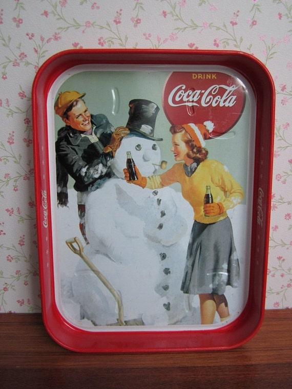Vintage Coca Cola Coke Tray Metal Serving Winter Scene Snowman