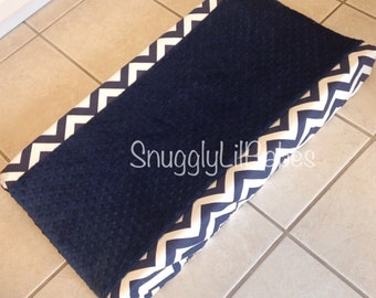 Navy chevron minky changing pad cover