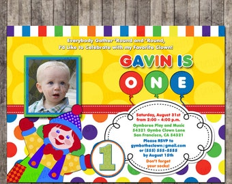 Custom, Personalized Gymbo the Clown Birthday Invitation