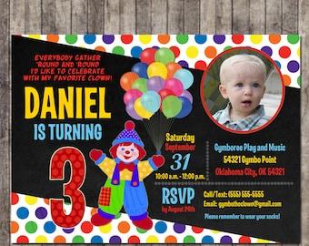 Custom, Personalized Gymbo the Clown Chalkboard Birthday Invitation