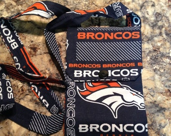 Denver Bronco cell phone pouch that you wear around the neck