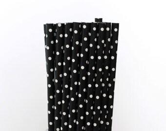Black and White Polka Dot Paper Straws-Black Drinking Straws-Black Party Straw-Wedding Paper Straws-Black Mason Jar Straw-Polka Dot Straws