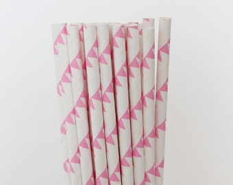 Pink Pennants Paper Straws-Pink Straws-Pennant Banner Straws-Wedding Straws-Shower Straws-Party Straws-Mason Jar Straws-Cake Pop Sticks