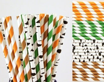 Woodland Paper Straw Mix-Orange Straws-Green Straws-Tree Straws-Brown Straws-Striped Straws-Party Straws-Mason Jar Straws-Cake Pop Sticks