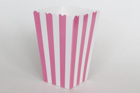 Hot pink striped popcorn box pop corn scoop hot pink favor box party