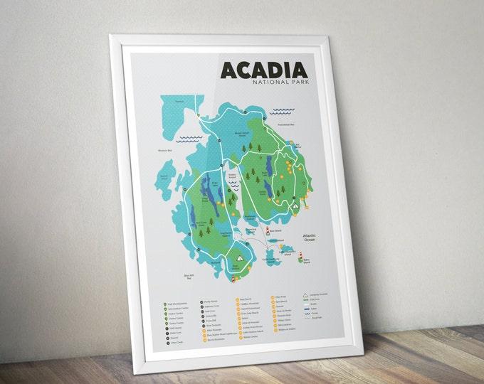 Acadia National Park Map, Acadia, Outdoors print, Explorer Wall Print