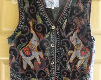 Vintage XL vest with traditional Indian elephant designs. Soft velvety material. Pabst blue ribbon