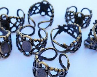 Antique Brass Filigree Rings - Brass Blank Ring Pads - Jewelry Supplies - Adjustable Filigree Ring Pads - DIY Rings