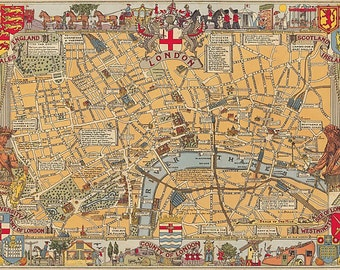 Vintage London Map, Cavallini & Co. Decorative Wrapping Paper, Decoupage, Book-binding, Wall Hanging, Paper Crafts