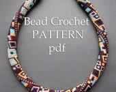 """Pattern for bead crochet necklace """"Skyscraper"""" / Bead crochet pattern / Beaded necklace / Bronze, turquoise, silver, purple / PATTERN ONLY"""