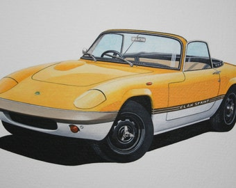 LIMITED EDITION PRINT Lotus Elan Sprint from an original painting by Malcolm Davies