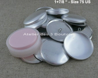 """10 Cover Buttons 1.7/8"""" (Size 75) with assembly tool"""