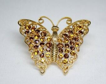 Rhinestone Butterfly Brooch by M Jent