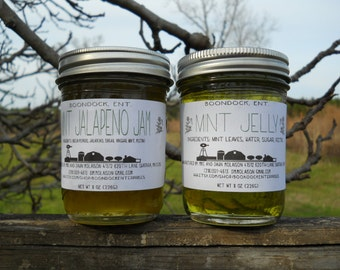 Mint Jelly and Mint Jalapeno Jelly - Herb Jelly - Herbal Jelly - All natural jelly - Fresh Herb Jelly - Vinaigrette - Gift for Food Basket