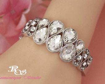 Rhinestone bridal bracelet wedding jewelry wedding crystal bracelet crystal bangle crystal cuff bridal jewelry wedding accessories B0140