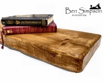 Chunky Wooden Rustic Solid Floating Shelf Shelves Mantel Handmade Bespoke 22cm Depth F22