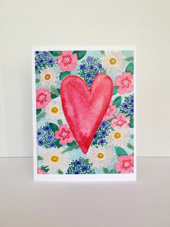 Watercolor Floral Heart Blank Card // Blank Greeting Card // Pretty Card // I Love You Card