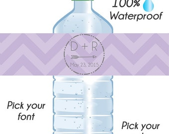 Chevron Custom Wedding Water Bottle Labels, Wedding Labels, Custom Wedding, Waterproof Water Bottle Labels