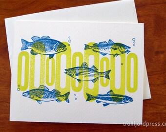 Fish Letterpress Notecard