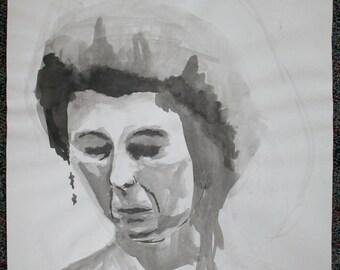 Original Fine Art Ink Wash Painting by Meghan Moore