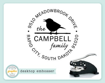 Embosser - CAMPBELL Style - Desk Model - Bird Personalized Return Address - Embossing Stamp Seal - Wedding Housewarming Gift