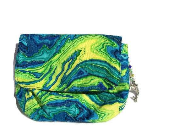 Blue and Green Swirls Camera Bag, Jewellery Bag or Cosmetics Bag with Swarovski Crystals - Medium