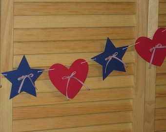 4th of July Hearts Stars Banner Americana Banner Red White Blue Banner July 4th Celebrate