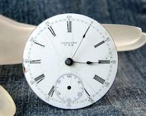 Vtg Century 18s, 7 Jewel Pocket Watch Movement, Lever Set, Open Face, Good Balance, Part or Repair E3102