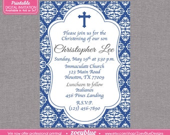 Baby Boy Baptism Invitation Blue Damask First Communion Christening Invite Confirmation Invitation- First Communion - Digital File