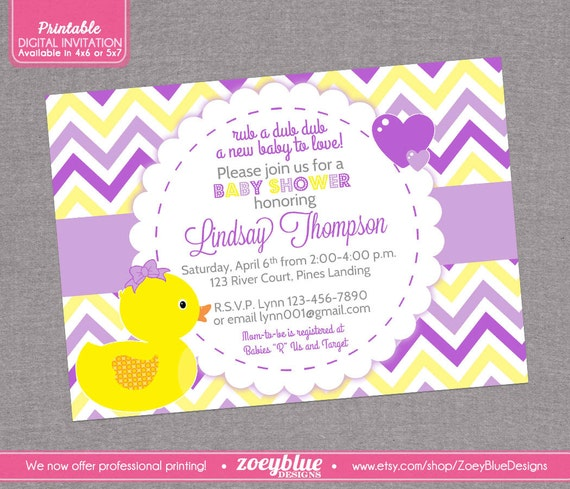 girl rubber ducky baby shower invitation girl bow printable ducky