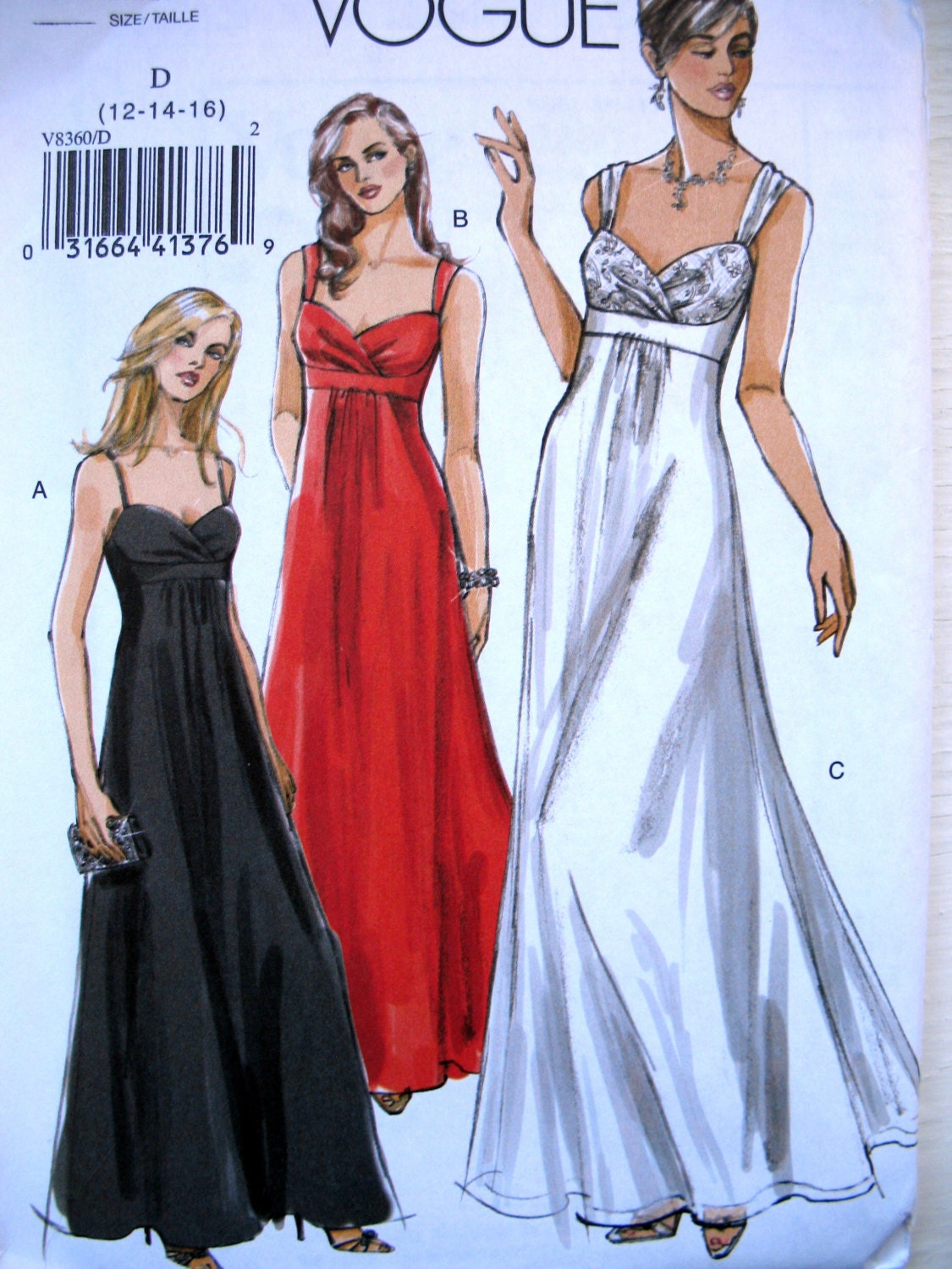 Evening Gown Sewing Pattern Prom Dress Pattern Vogue Floor