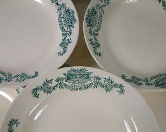 Set of 6 Antique french ironstone GREEN transferware soup plates from LONGCHAMP. Green transferware. French transferware. Model Lutèce