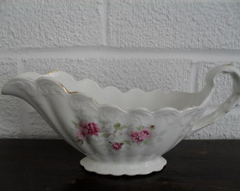 Antique Gravy Boat Pink Floral Pattern by East Palestine Pottery Company